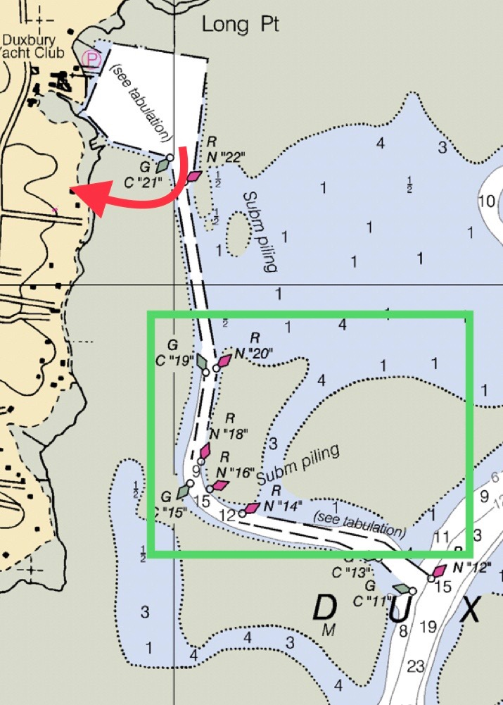 1) the red arrow points to the location of company headquarters, the hatchery, and the raw bar.  I t's also the location of where the the skiffs and draggers run in-and-out to the farm; 2) the green box outlines the general area of the Oysterplex, and where the Island Creek and Row 34 oysters live, preparing to be harvested.