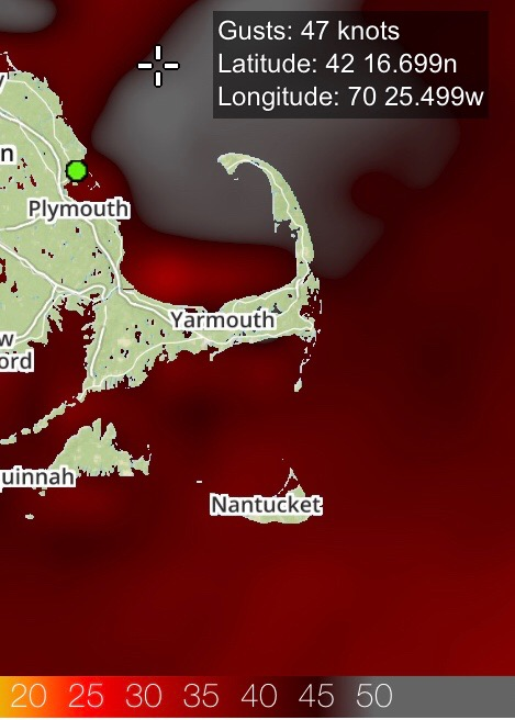The green dot marks Duxbury.  It was a bit windy over the weekend.