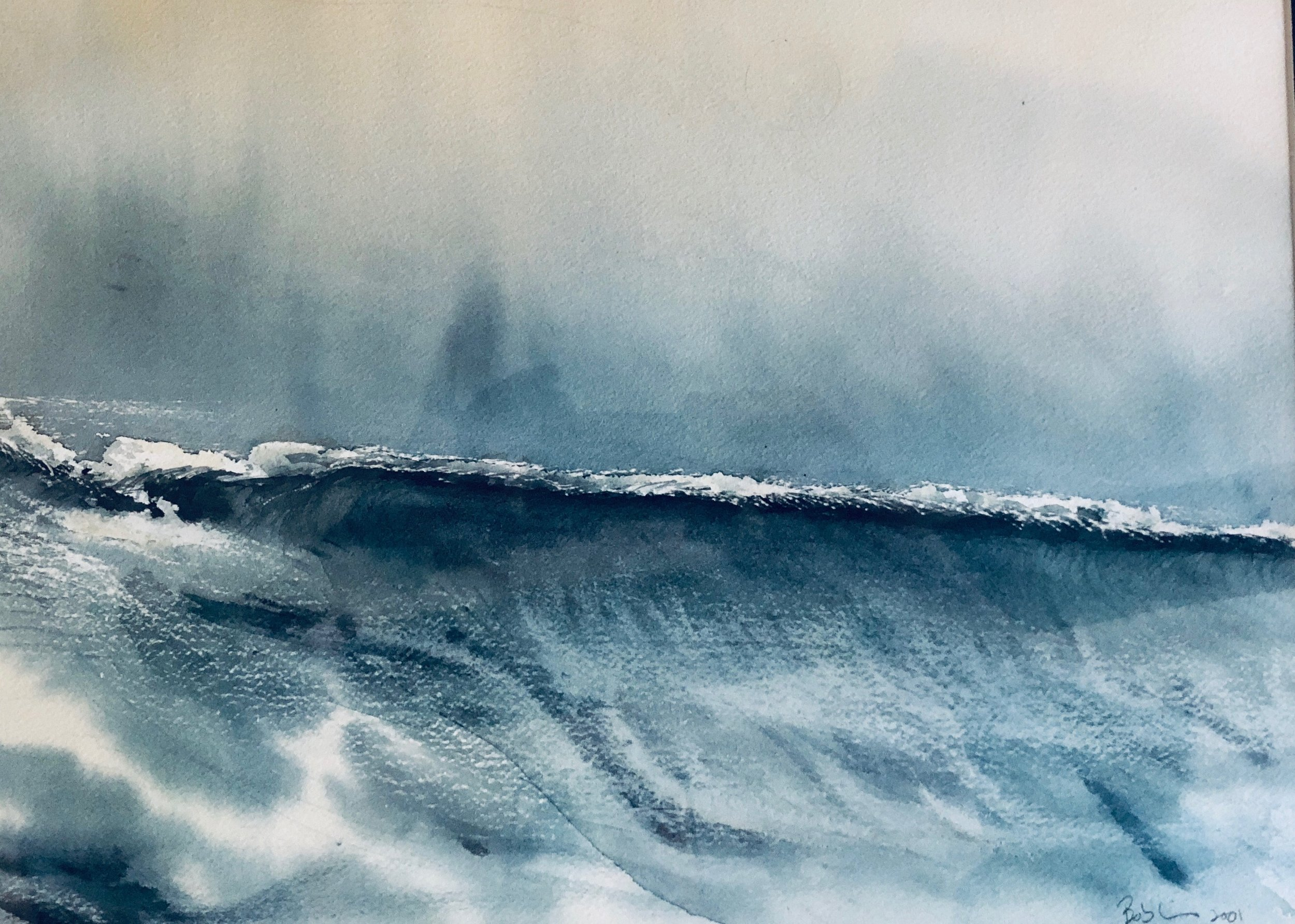 This is a watercolor i did in 2001 from a memory of a line of squalls off of Cuba that slammed into the 36 ketch I crewed on, for delivery to Ocho Rios, Jamaica.