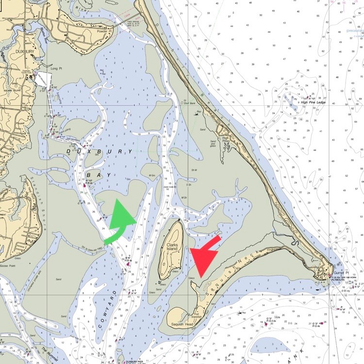 The green arrow points to the Hunts farm; The red arrow points to the Saquish farm  @noaa.gov