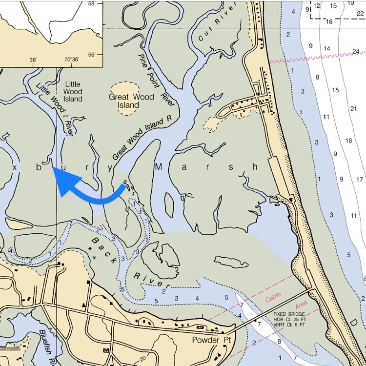The blue arrow points to the Back River nursery where seed oysters until their big enough for planting on the bay  @noaa.gov