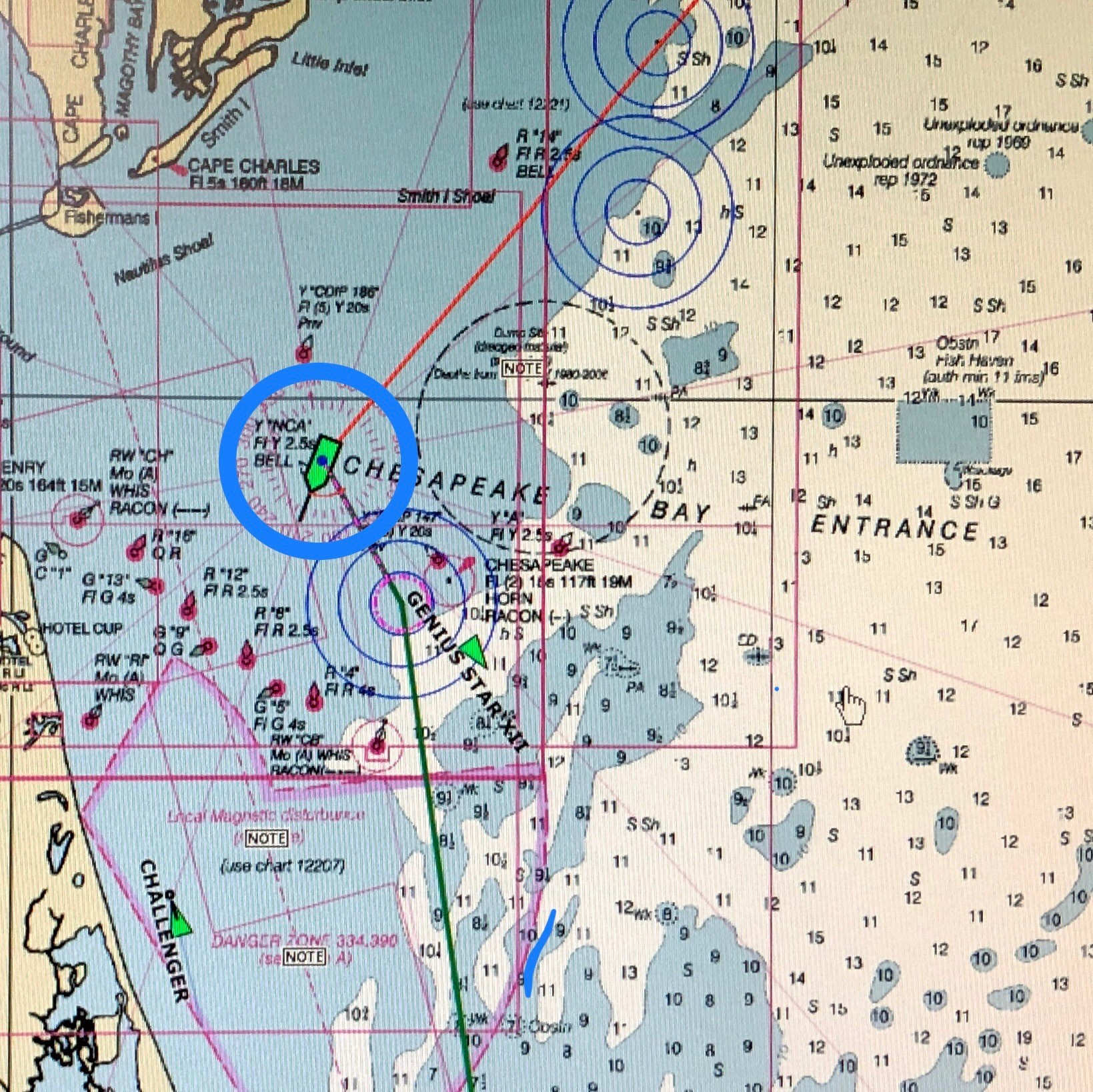 The Bigelow's position at 200pm. Since yesterday, we steamed from off-shore New Jersey to the Chesapeake Bay area. Near here we transferred two NOAA engineers onto another vessel at around 330pm.