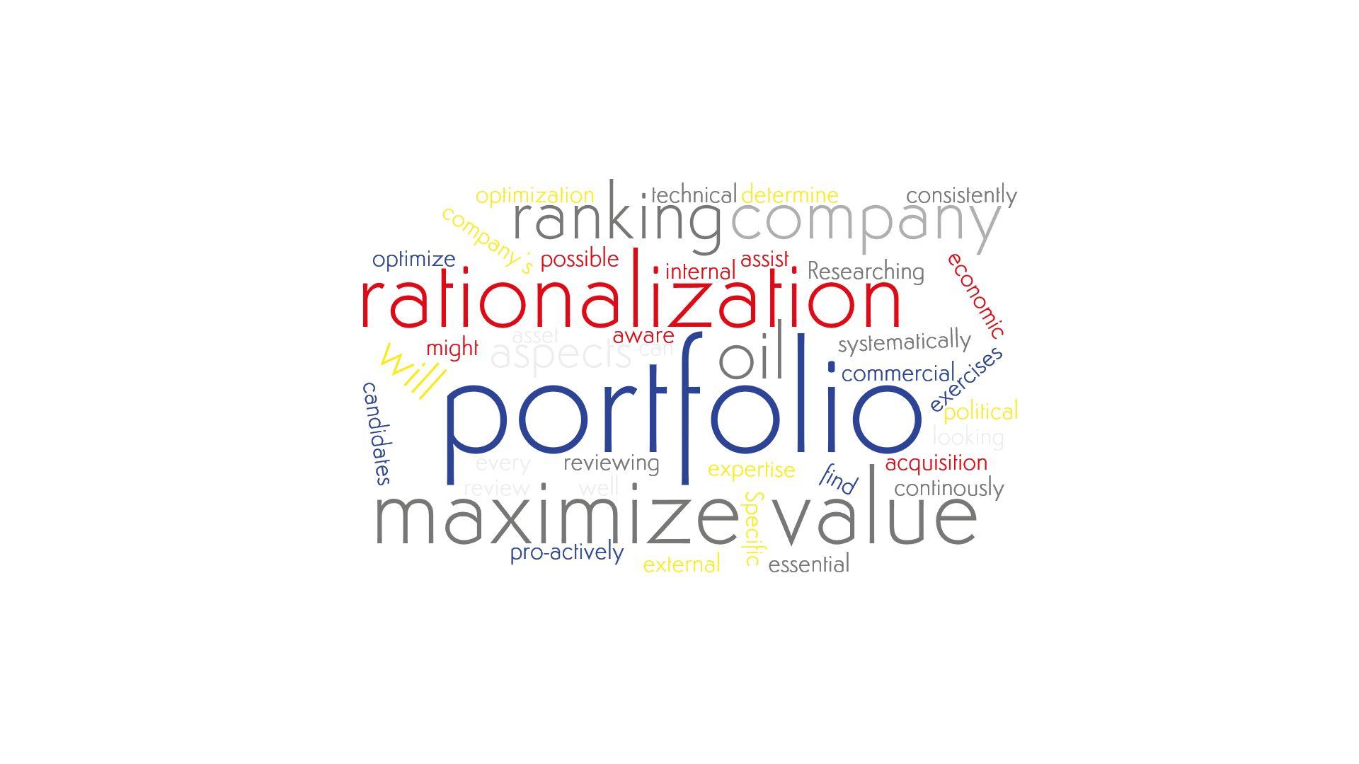 A word cloud emphesizing Salève Energy Partner's expertise in Portfolio Rationalization