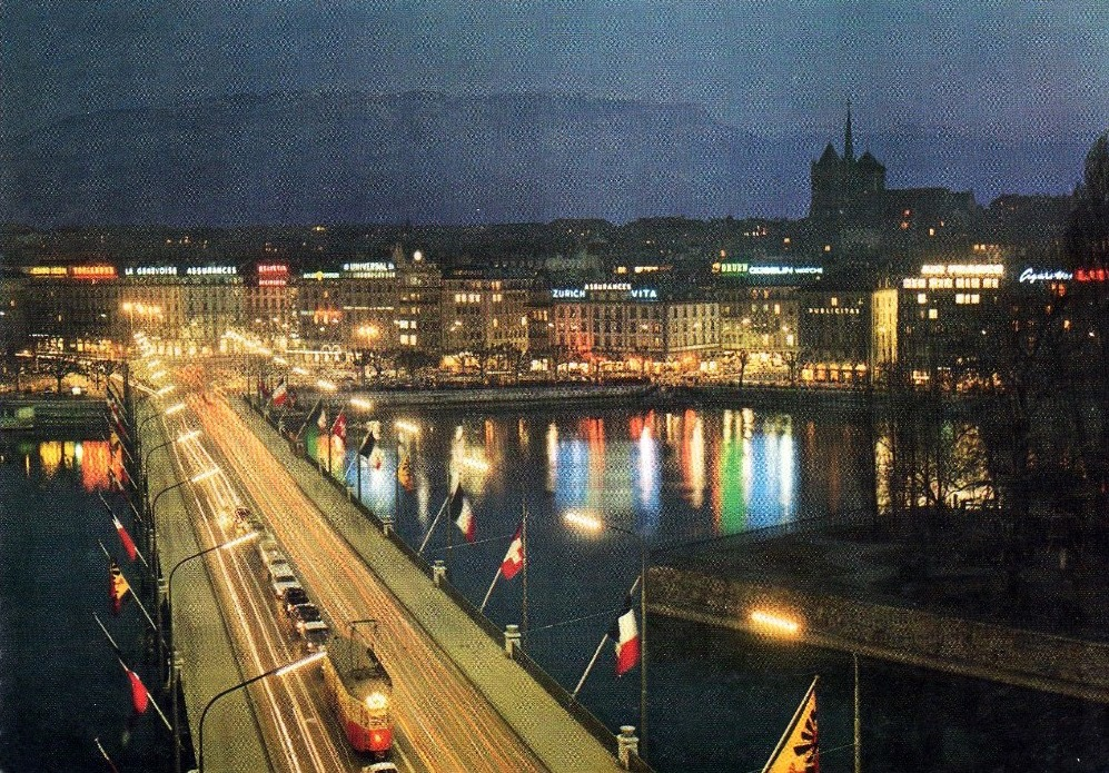Vintage Postcard of Geneva with a view of the Mont Blanc Bridge and the Salève in the background by night