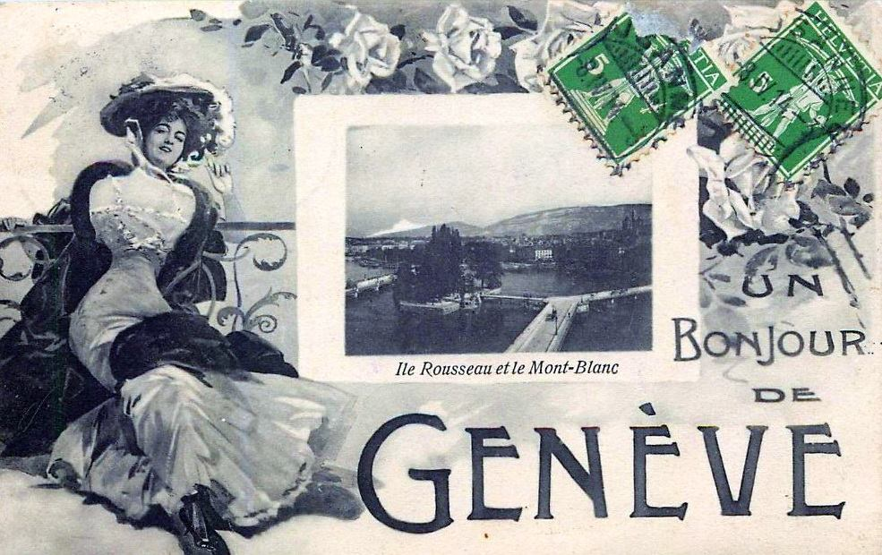 Vintage postcard of Geneva with a small picture of the Ile de Rousseau and in the background the Salève and the Mont Blanc. To the right of the picture is a 19th century lady.