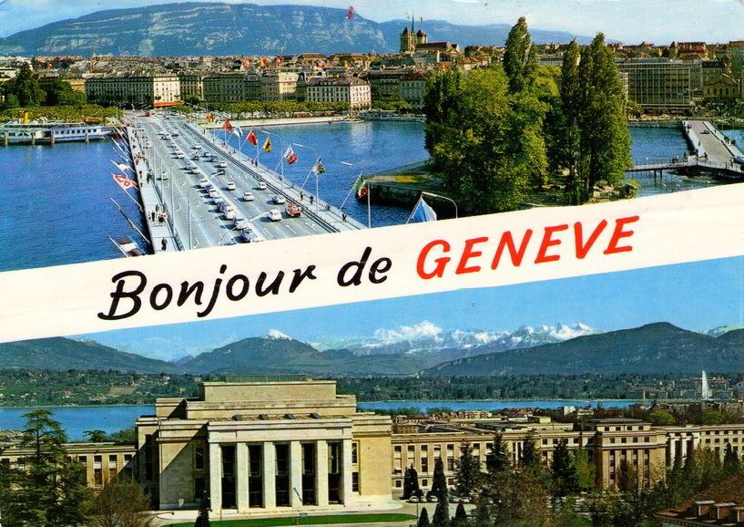 Vintage postcard of Geneva, Bonjour de Genève, with at the top a view of the Mont Blanc Bridge and the Salève and the bottom a view of the UN building and the Mont Blanc.