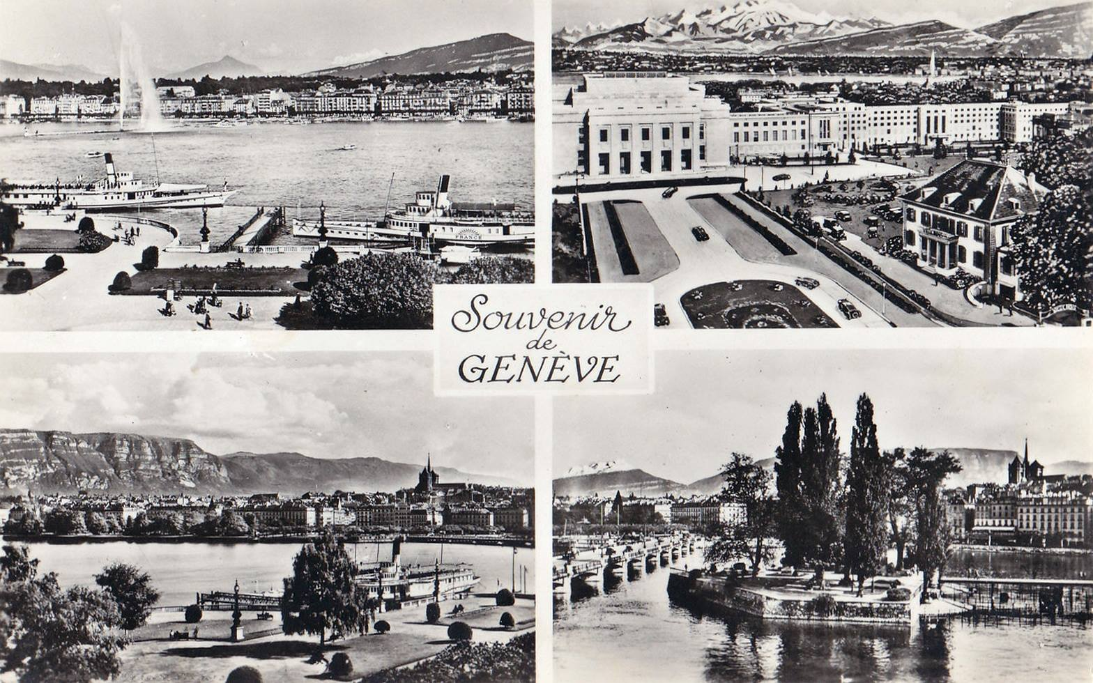 Vintage postcard of Geneva with 4 black-and-white drawings of Geneva landmarks including the Salève.
