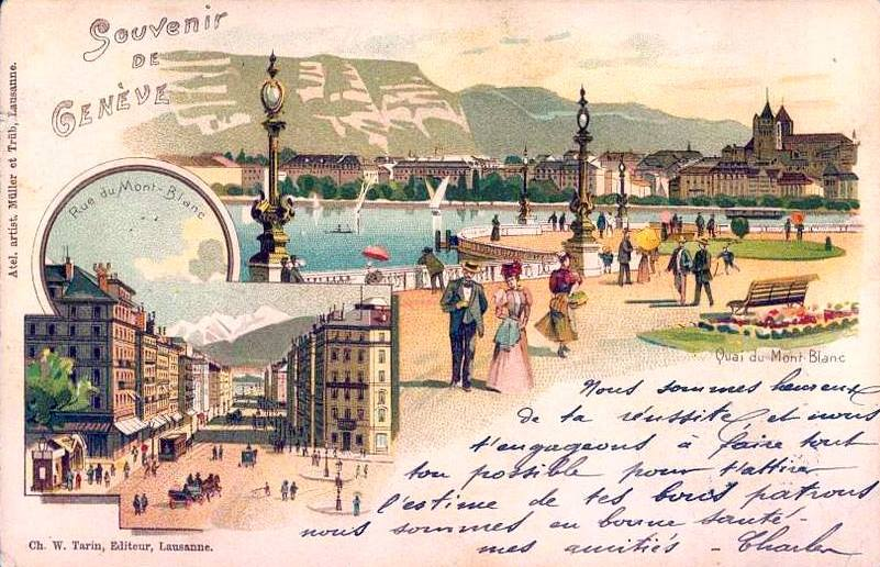 Vintage postcard of Geneva with hand-written text and hand-drawn view over Lac Léman, la Rade, and the Salève.