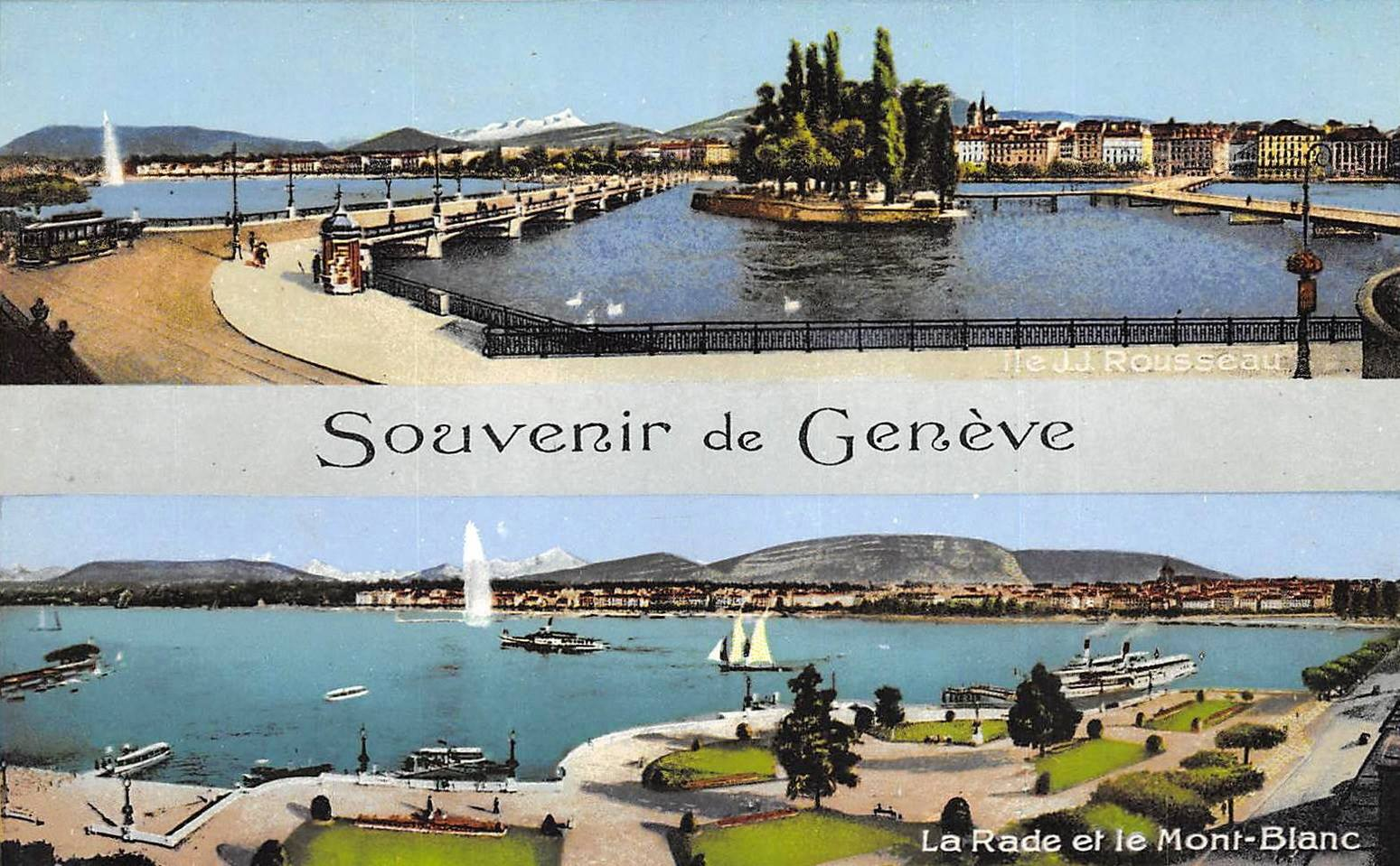 Vintage postcard of Geneva, Souvenir de Genève, with at the top a view of the Mont Blanc bridge and Ile de Rousseau and at the bottom a view of Lac Léman, the Jet d'Eau and the Salève.