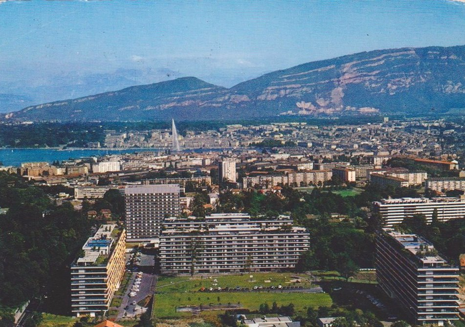 Vintage postcard of Geneva with an aerial view over Geneva and the Salève.