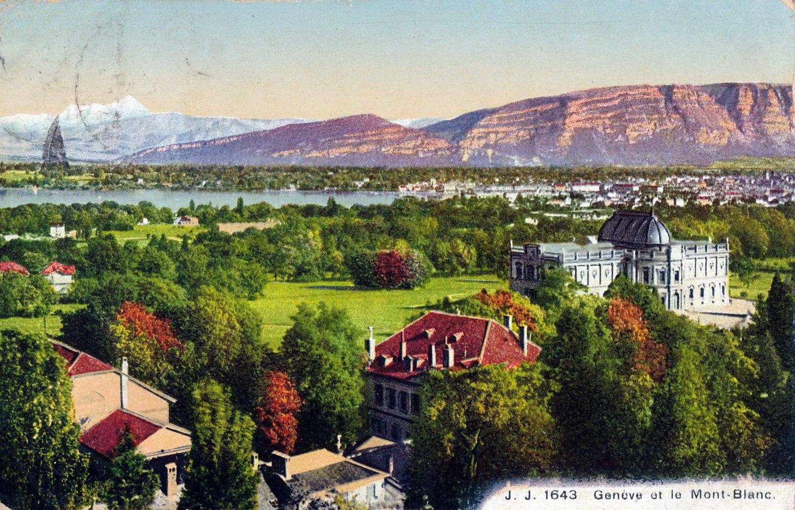 Vintage postcard of Geneva with a hand-drawn over Genève, the Salève and the Mont Blanc.