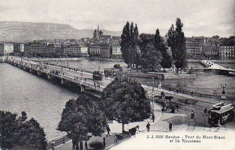 Vintage postcard of Geneva of the Mont Blanc bridge and the Ile de Rousseau and in the background the Salève.