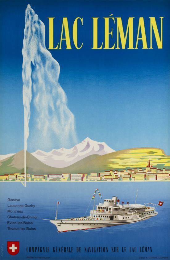 Vintage poster of Geneva of Lac Léman, a paddle boat, the Jet d'Eau and the Salève and the Mont Blanc in the background, in French.