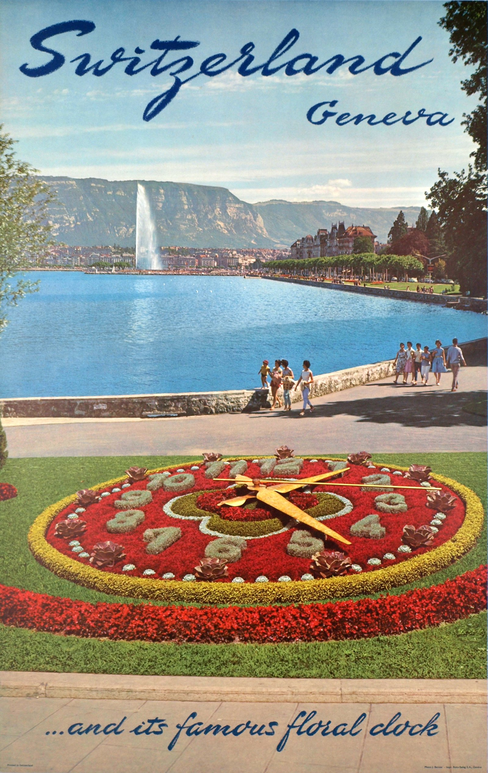 Vintage poster of Geneva of the Flower Clock, Lac Léman, the Jet d'Eau and the Salève in the background, in English.