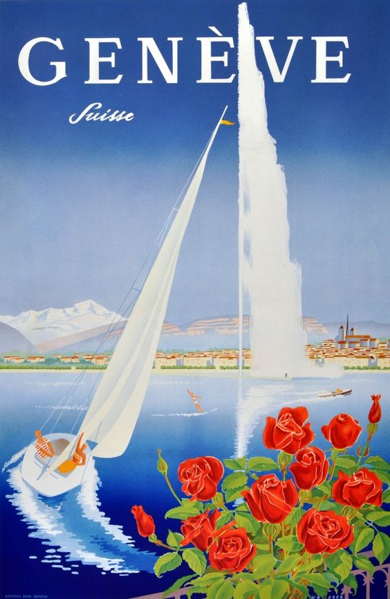 Vintage poster of Geneva with roses, Lac Léman, a sail boat, the Jet d'Eau and the Salève in the background, in French.