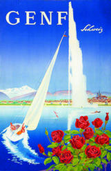 Vintage poster of Geneva with roses, Lac Léman, a sail boat, the Jet d'Eau and the Salève in the background, in German.