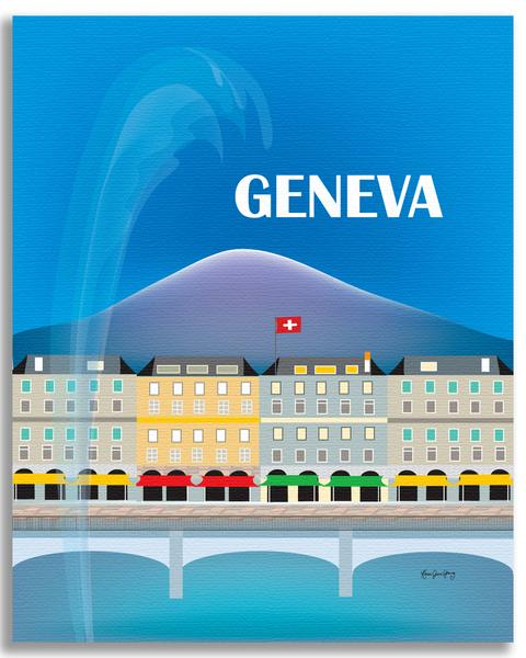 Vintage poster of Geneva with the Mont Blanc bridge, la Rade, a Swiss flag, and the Mont Blanc in the background.