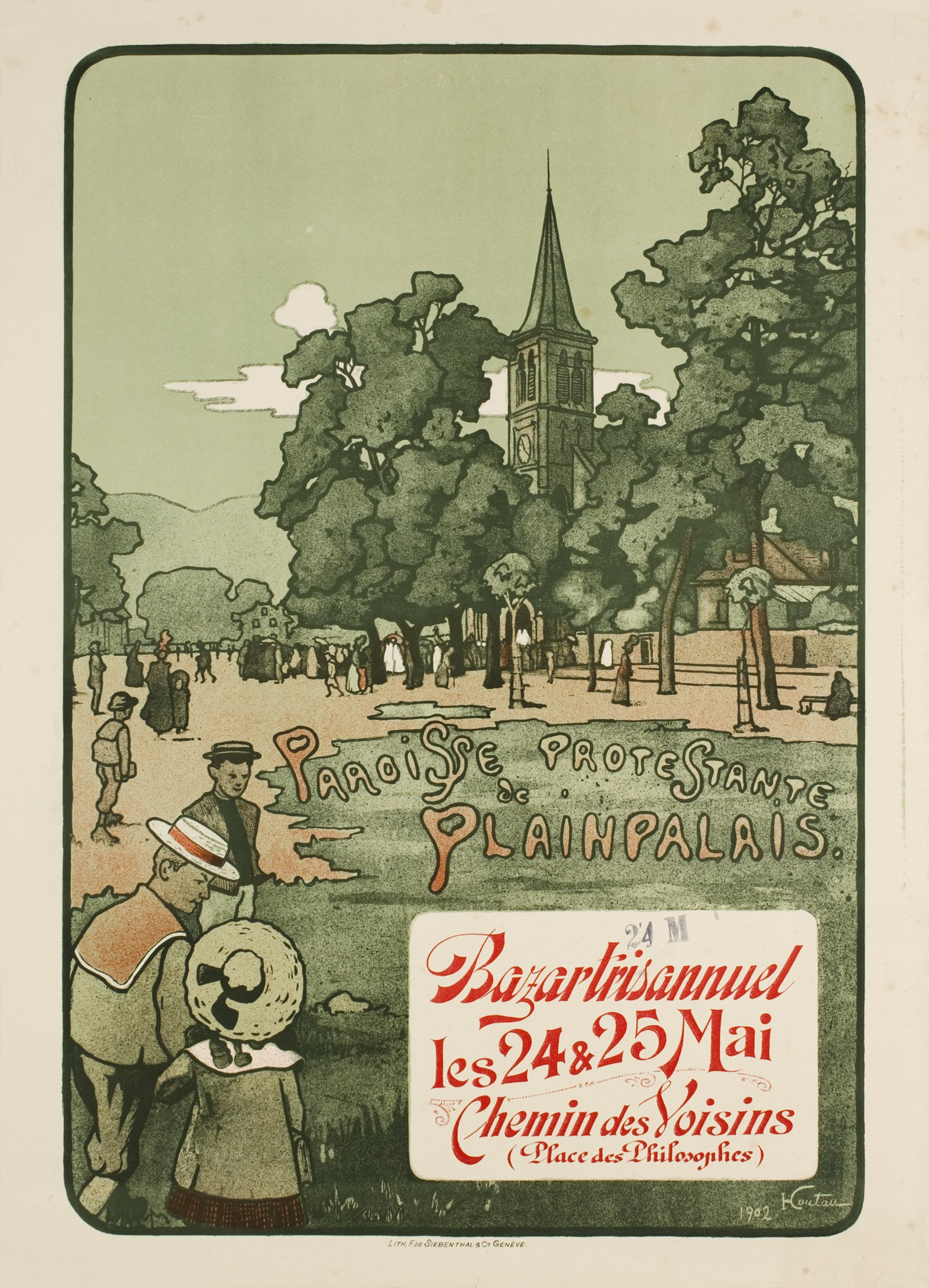 Vintage poster of the Paroisse protestante de Plainpalais.