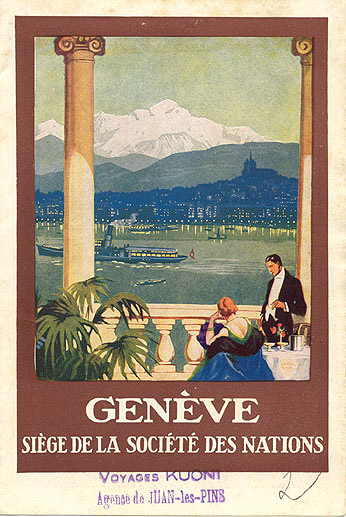 Vintage poster of Geneva and the United Nations.
