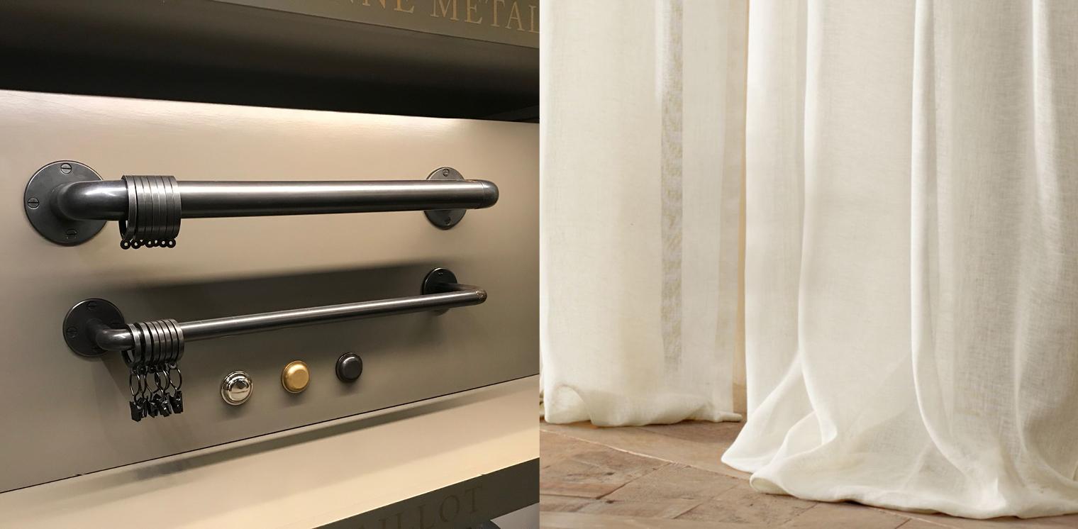 LEFT: RH Cast Iron Hotel Rod / RIGHT: RH Belgian Sheer Linen Drapery