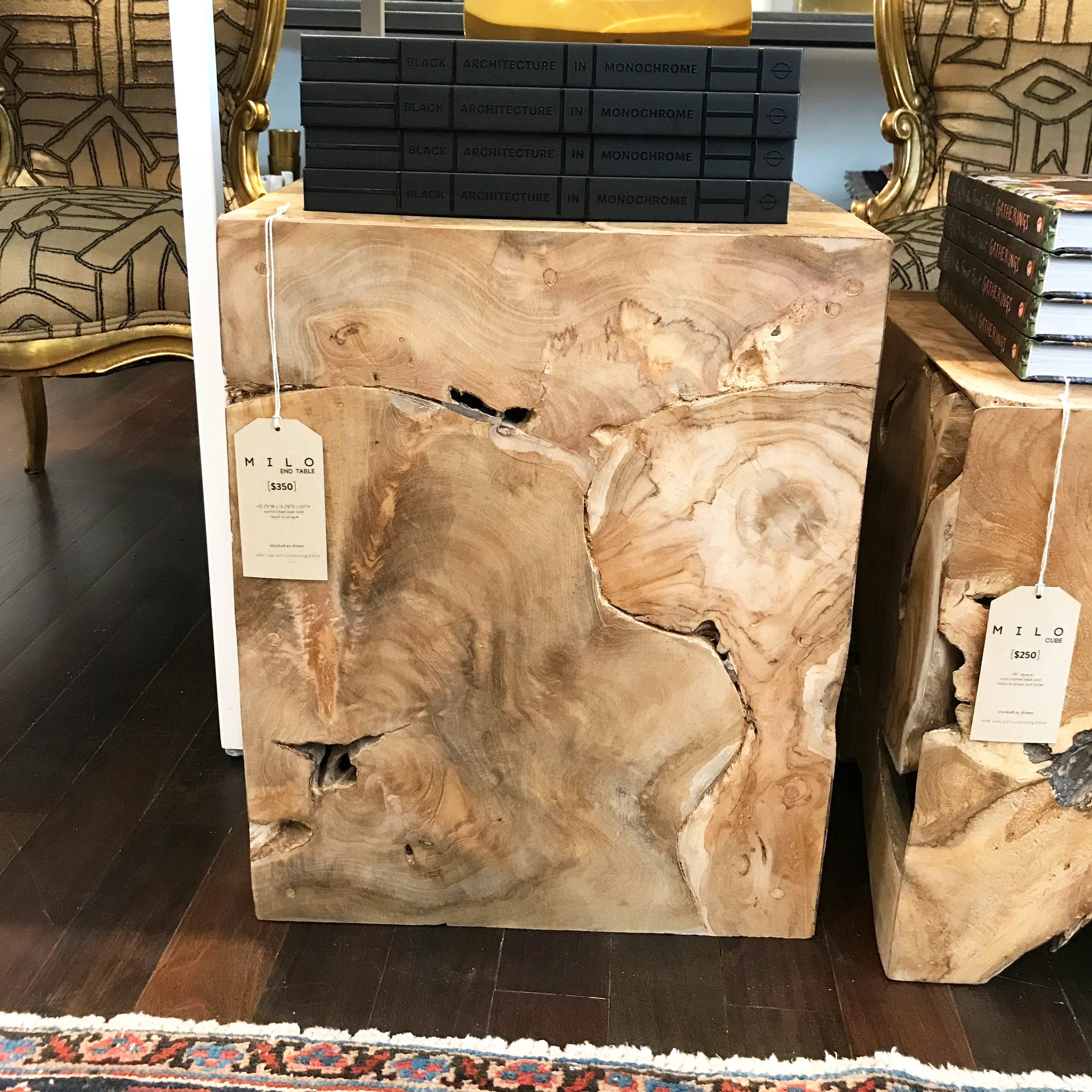 Milo Teak End Table - $350 |  GREAT FOR:  Bedside table in a modern loft bedroom