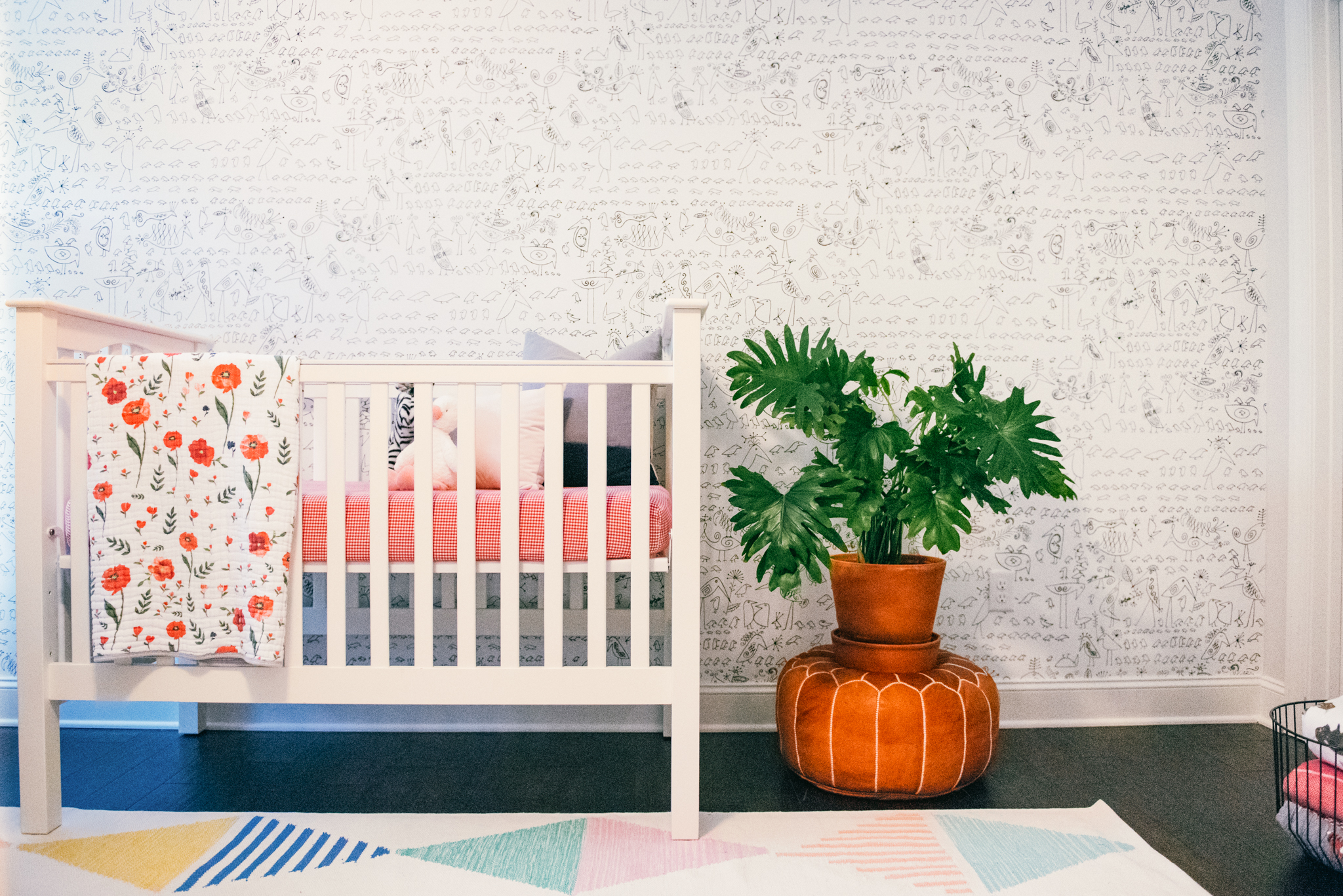 modern floral girls nursery