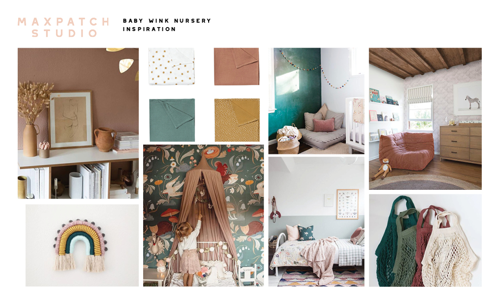 Earthy hues: dusty rose, moss , emerald, and sage greens, a touch of ochre and pops of white