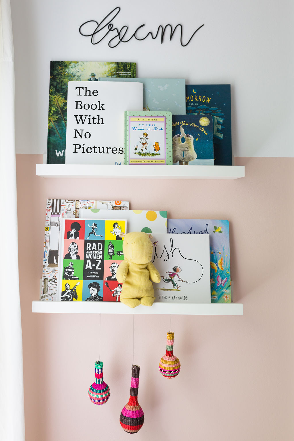 nursery bookshelves colorful books