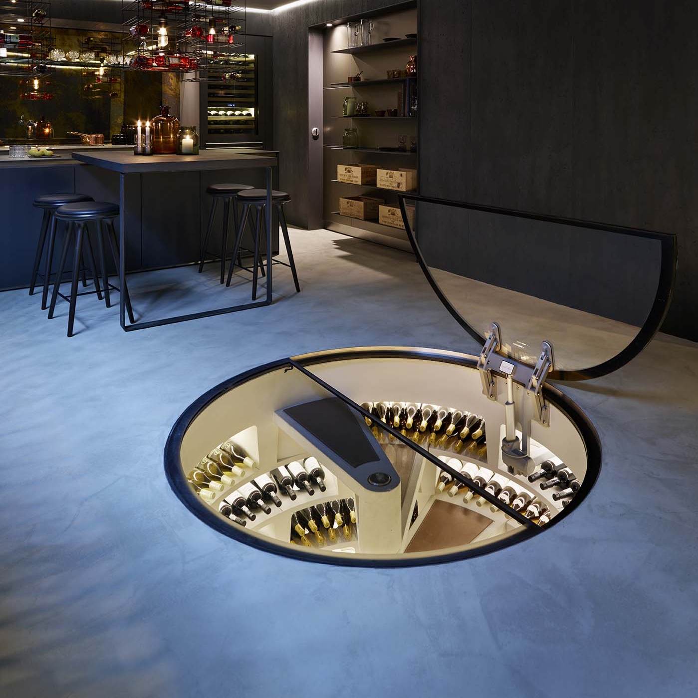 Trapdoor   Unless you choose from our other options, a Spiral Cellar will be installed with our standard timber trap door. You can see an example of the default door by selecting Timber below. However, there are many alternatives to the timber trap door. You can have your trap door concealed to fit the surroundings or choose our personal favourite; a glass trap door allowing you and your guests to admire your wine collection from above.