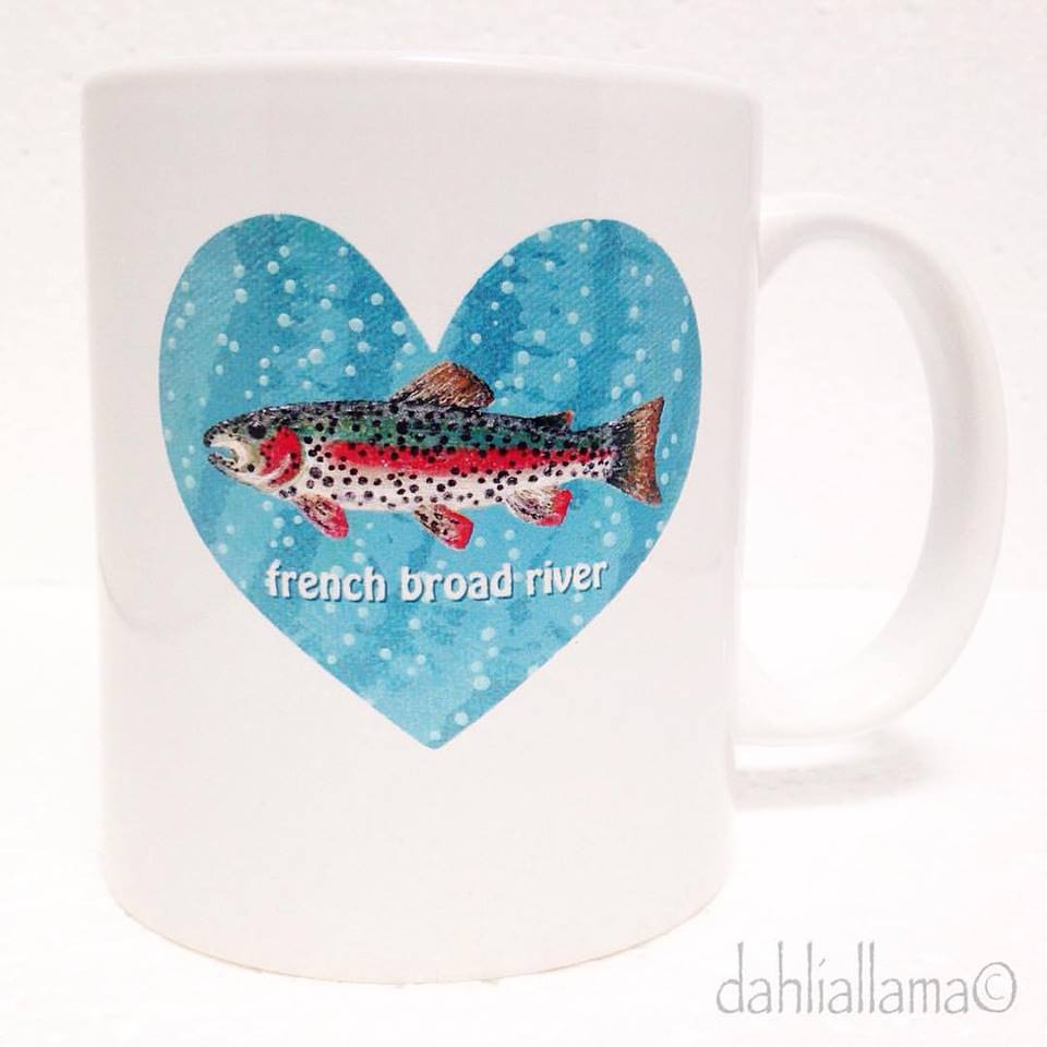 french broad river trout heart mug by c.ramsey