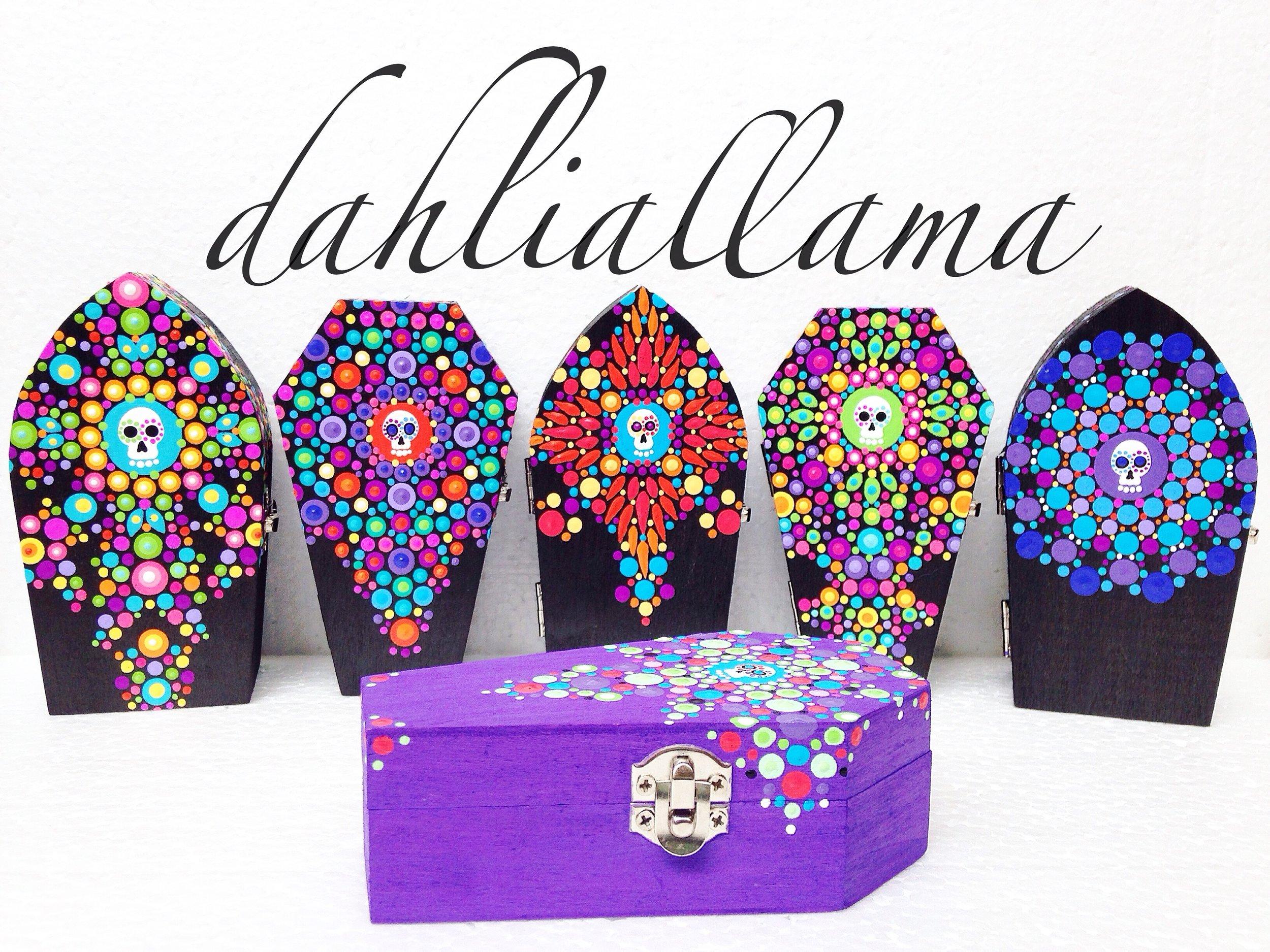 hand-painted, sugar skull, mini boxes