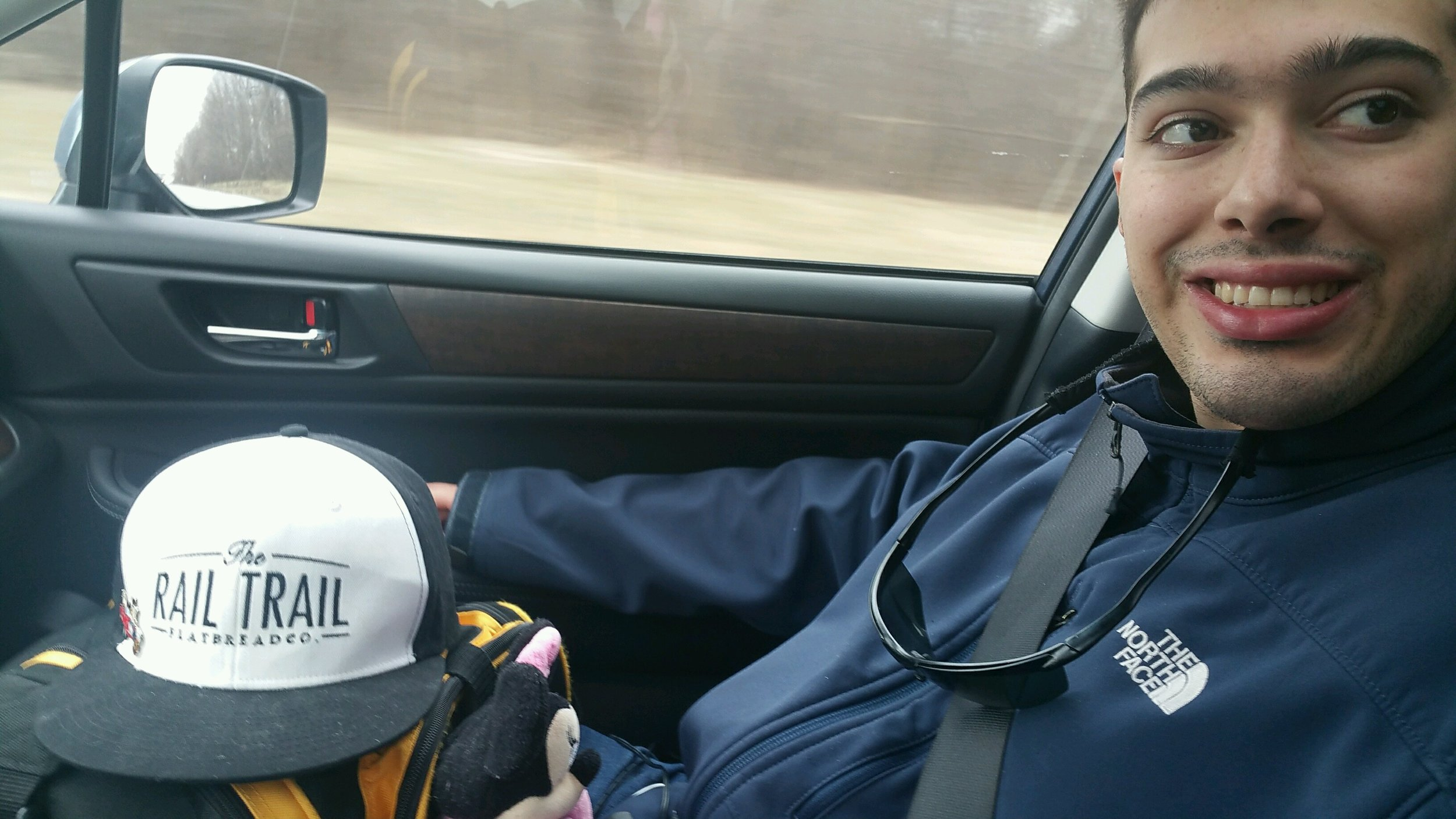 joe cabral - on the road and on the way to toronto to play in a hockey tournament with the east coast jumbos.