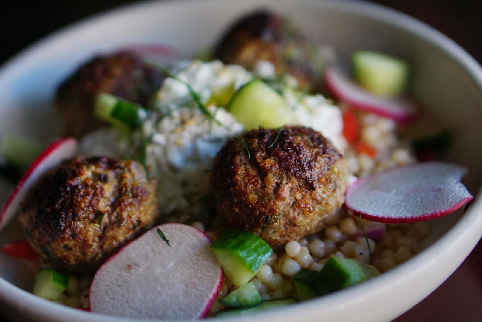 lamb meatballs - tzatziki, couscous salad, fresh dill