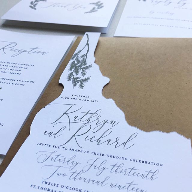 IDAHO! congratulations kathryn and richard, i hope your wedding day was magical! kathryn's vision was an invitation in the shape of idaho with some pine branches that nod to home. rustic and elegant. ✨ . . . .  #stationerydesigner #weddinginvites #custominvitations #customstationery #papergoods #weddingpaper #paperie #weddingstationery #fortheloveofpaper #weddingpaper #invitationsuite #weddingstationer #invitationdesign #idaho #idahoinvitations #dailydoseofpaper