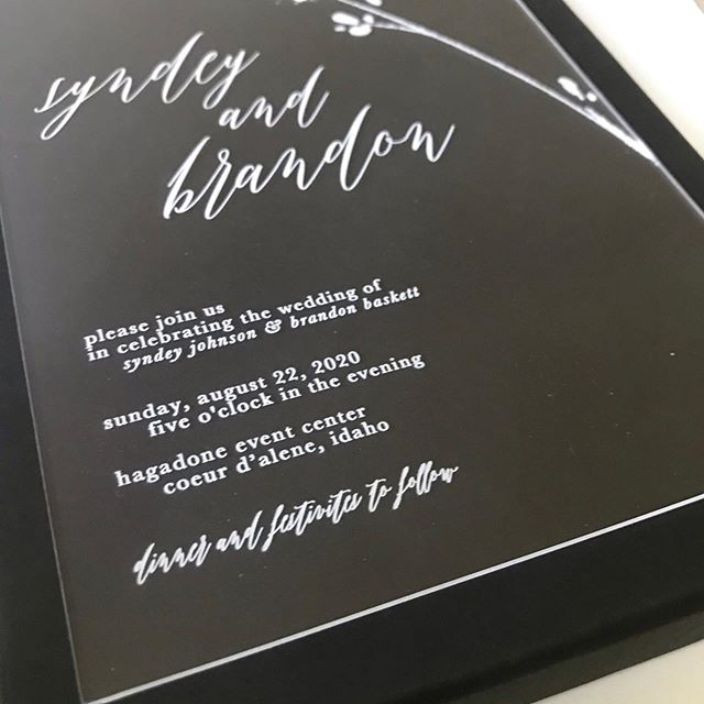 these stunning invitations are made of clear acrylic with white ink and so cool!! we are so excited to offer them! they are so special they need to be shipped as a parcel... extra effort and extra cost? yes, but each one of your guests gets an exciting invitation package that says YOU DON'T WANT TO MISS THIS PARTY!! fully customizable and SO MUCH FUN! . . . .  #stationerydesigner #weddinginvites #custominvitations #customstationery #weddingpaper #weddingstationery #invitationsuite #weddingstationer #invitationdesign #acrylicinvitations #acrylicinvitation #acrylicinvites