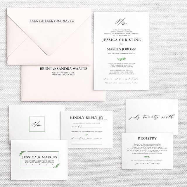 congratulations jessica and marcus 🥂! i loved working with jessica and her mama. such a fun, warm, joyful family! ⠀⠀ we had fun with their invitations. block fonts, lots of white space with a splash of greenery and textured blush envelopes. and my favorite, recipient printed addresses on each envelope. . . .  #weddinginspiration #weddinginvites #custominvitations #customstationery #papergoods #prettypaper #weddingpaper #paperie #weddingstationery #fortheloveofpaper #weddingpaper #invitationsuite #weddingstationer #invitationdesign #dailydoseofpaper #weddingideas #minimalbride