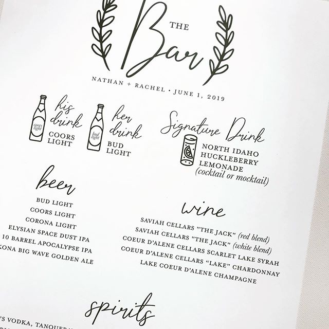 """having so much fun with bar menus and other fun """"Day Of"""" design this wedding season. whatcha need? let us know. 🥂 ⠀⠀ also, heading to europe tomorrow! stay tuned for our adventures picking up a sweet girl from her """"au pair"""" time and italy. cannot WAIT to squeeze her! . . . .  #shesaidyes #weddinginspo #weddingseason #weddinginvitiations #weddingsuite #invitations #design #realwedding #customdesign #local #spokaneweddinginvitations #cdawedding #graphicdesign #designer #mangoink #typography #instagood #inspire #creativecommunity #weddingstationery #stationery #weddinginvite #stationerysuite #wedding #weddingday #weddinginspiration #weddingideas #weddingplanning #weddingdetails #dayofdesign"""