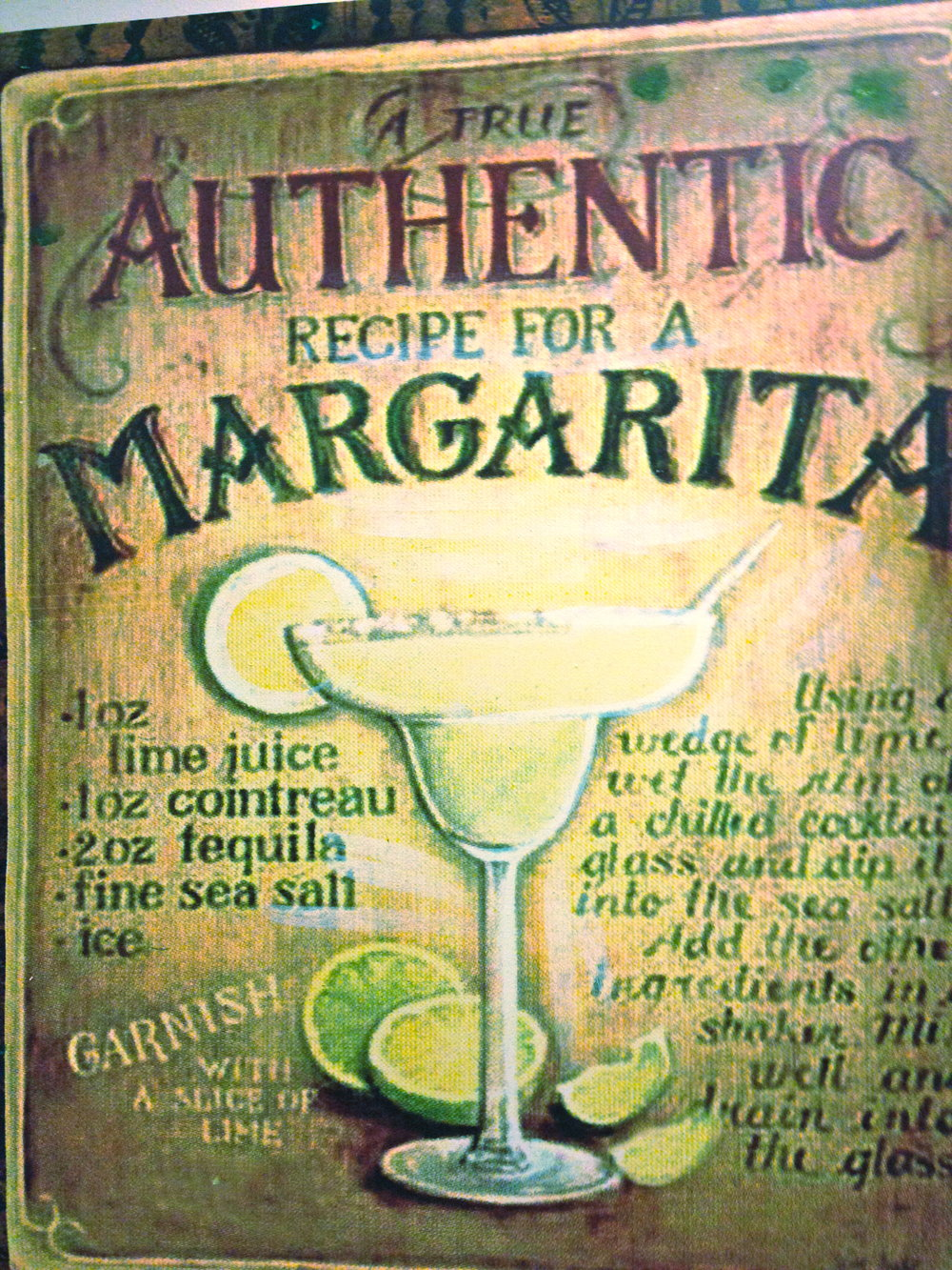 Casa Coco Margarita Recipe Sign
