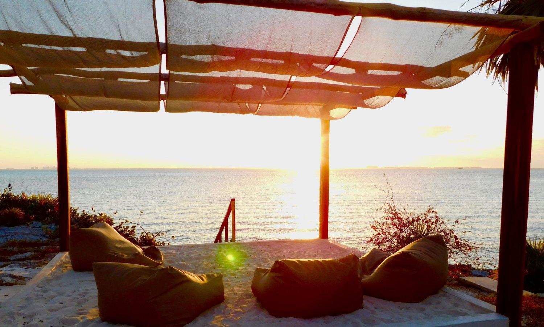 Casa Coco Beach Lounge Sunset with Bean Bags
