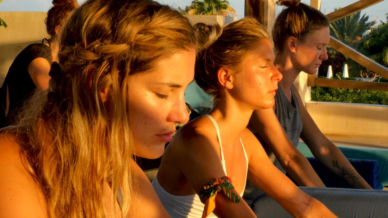 Casa Coco Yoga Palapa Sunset Pose