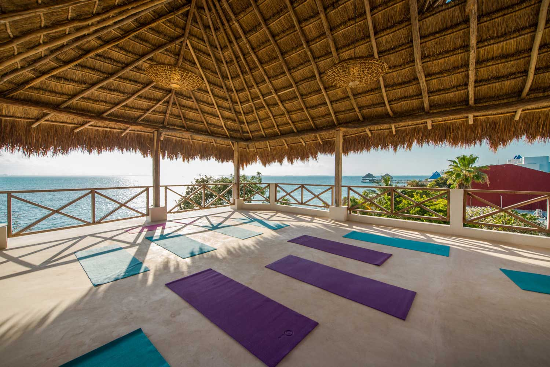 Casa Coco Yoga Palapa Right Corner Purple Mats