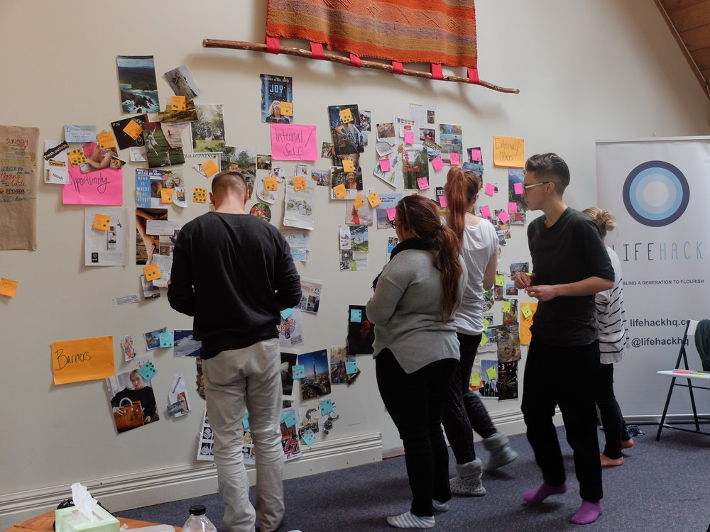 Lifehack Fellows brainstorm barriers and opportunities around wellbeing.