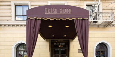 Hotel Bijou - 111 Mason Street, San Francisco, CA, 94102,USA, (415) 771-1200Drawing on the rich cinematic history of San Francisco, Hotel Bijou gives each guest a starring role, no matter the reason for travel. Located in the heart of downtown, our Union Square San Francisco hotel offers distinct, inviting accommodations, over 1,200 square feet of meeting space for events and small gatherings, a private theater, and more. Each of our 65 guestrooms draws inspiration from great San Franciscan moments of film, from Alfred Hitchcock's The Birds to Clint Eastwood as Dirty Harry. The elegant décor echoes the history of black and white films while featuring modern, glamorous décor and amenities such as a free nightly double feature at the Petit Theater, cable television, writing desk, high-speed wireless Internet access, and more.