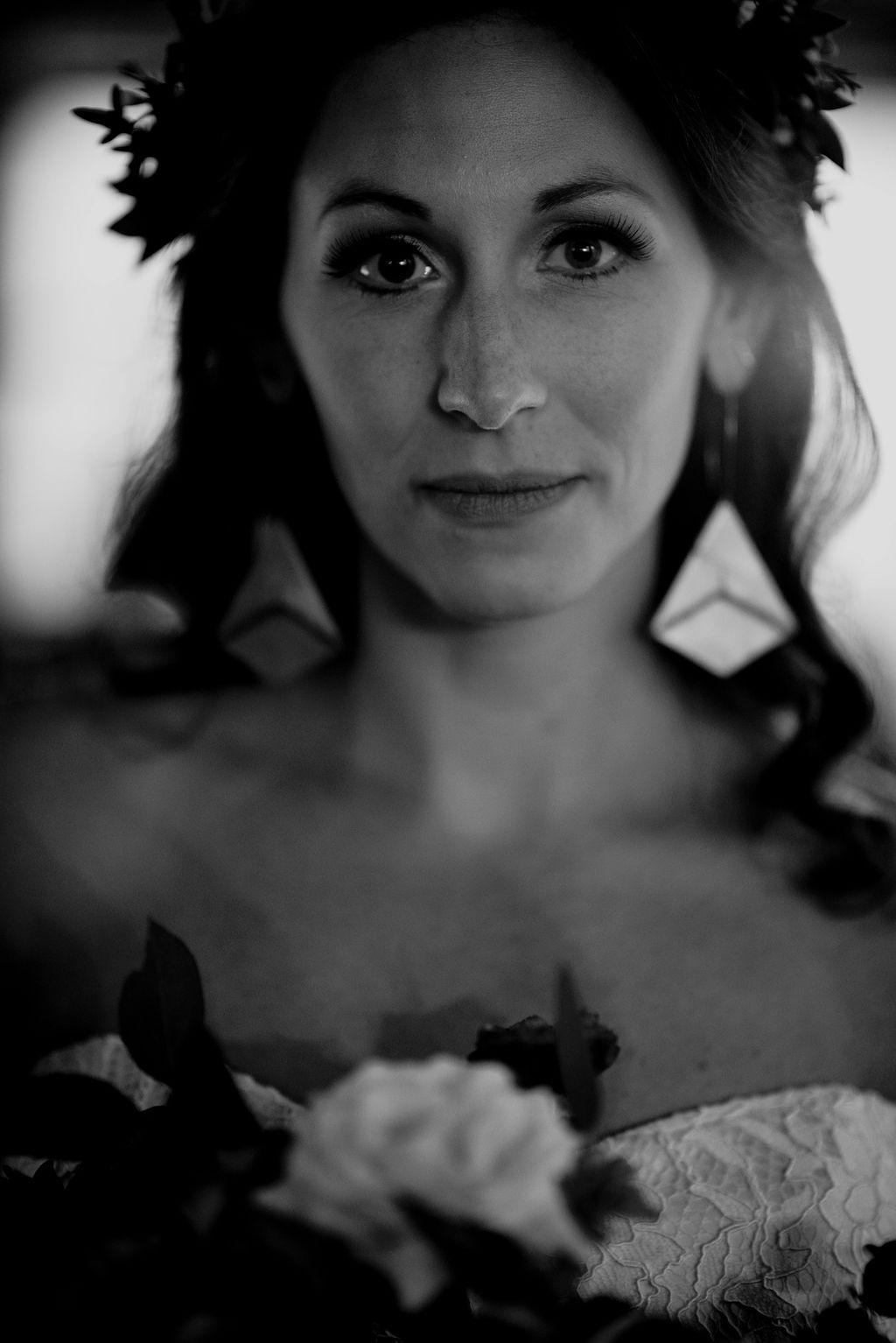 Black and White Bridal Portrait Durham, NC