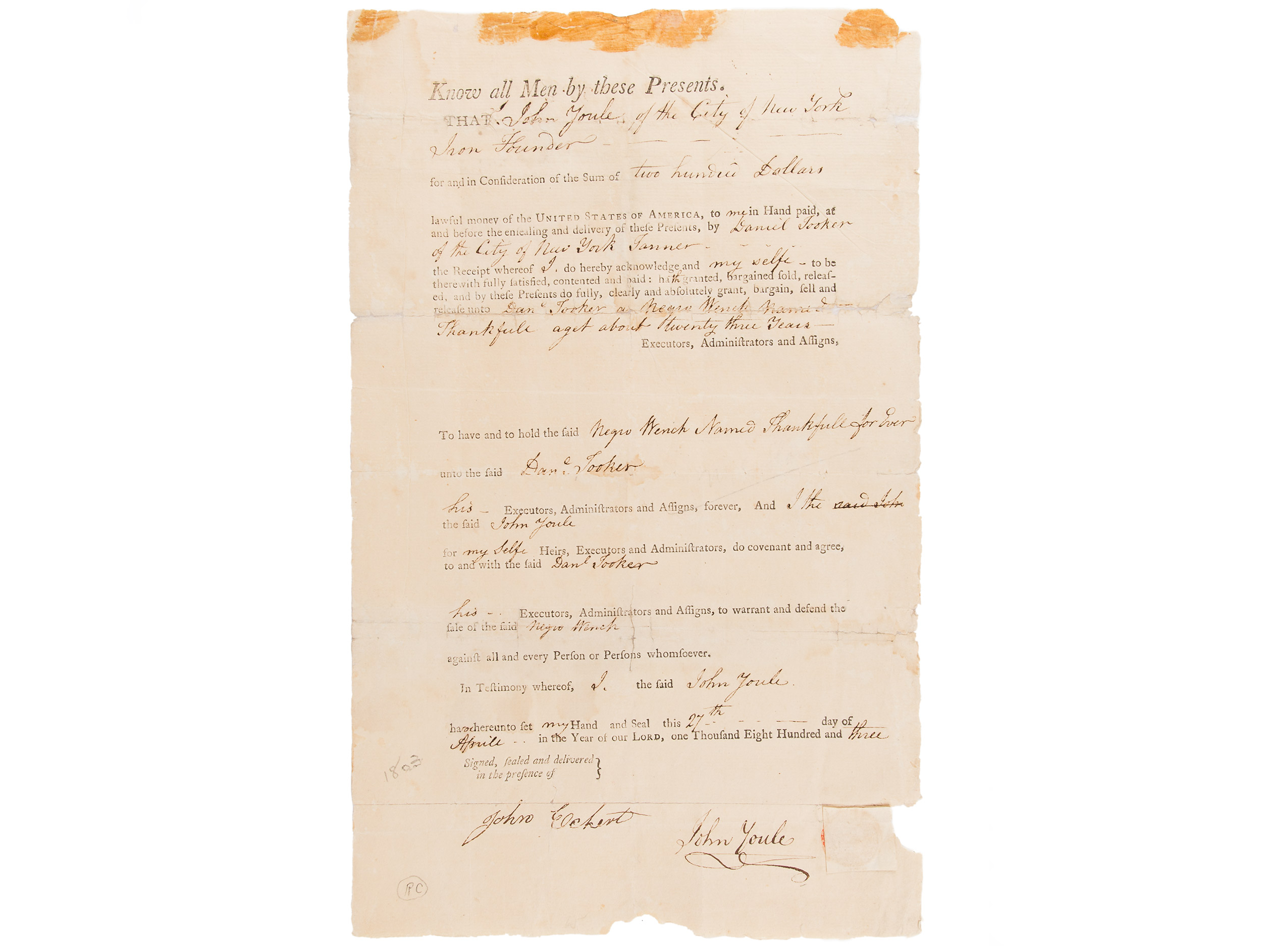 Bill of sale for Thankfull, 1803