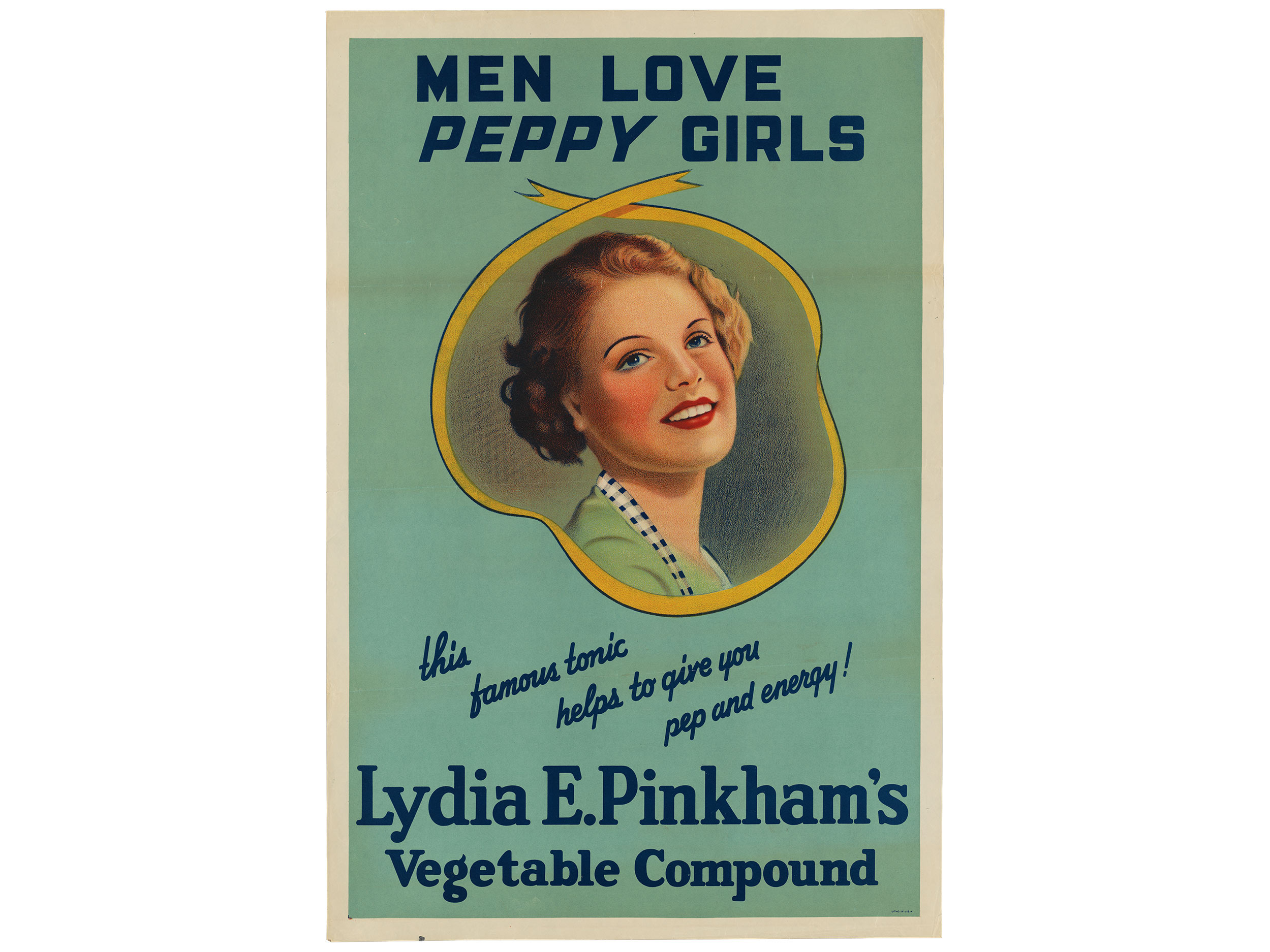 """Men Love Peppy Girls"" poster, Lydia E. Pinkham Medicine Company, 1936"