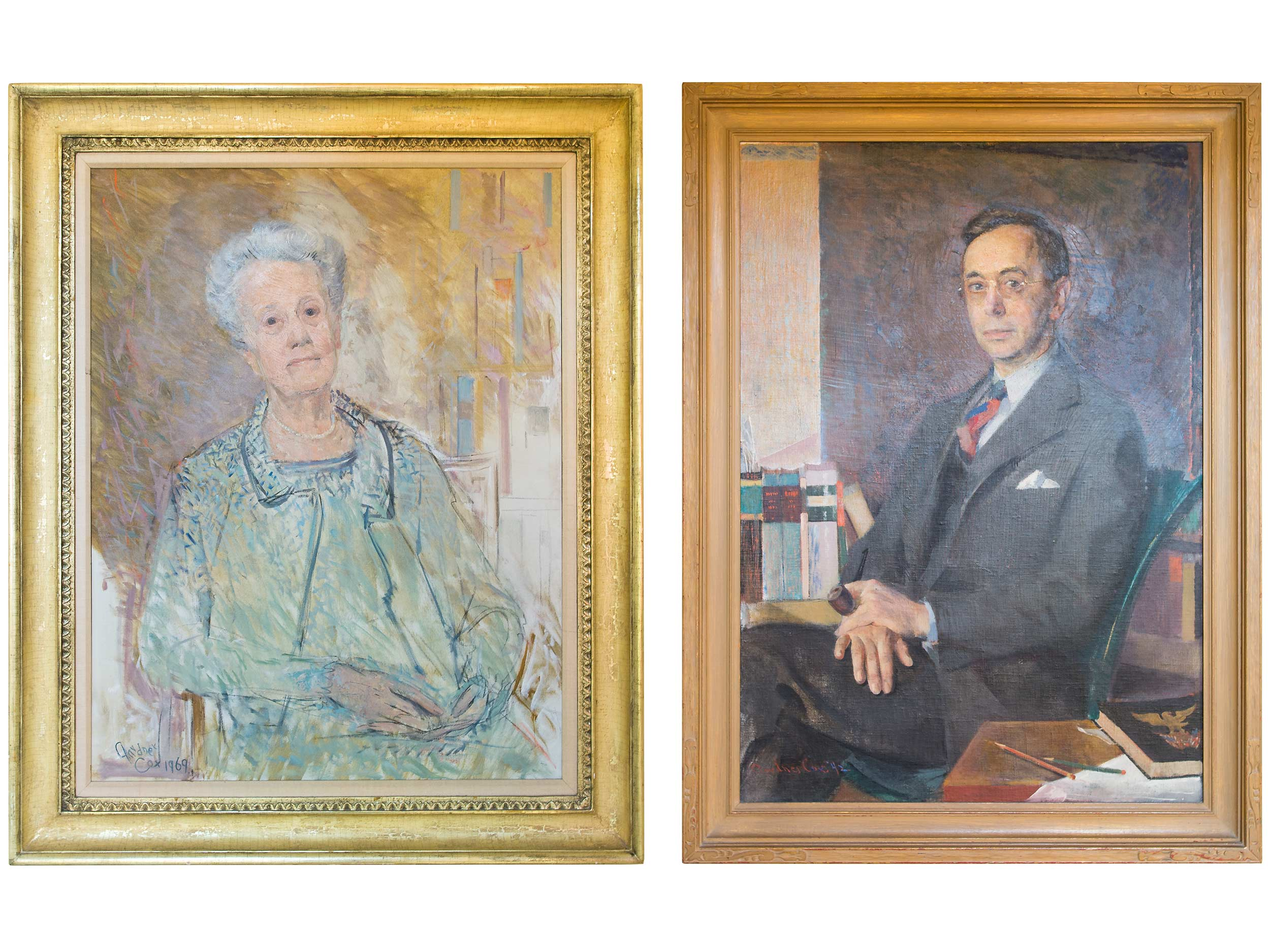 Oil portraits by Gardner Cox, 1969 and 1942