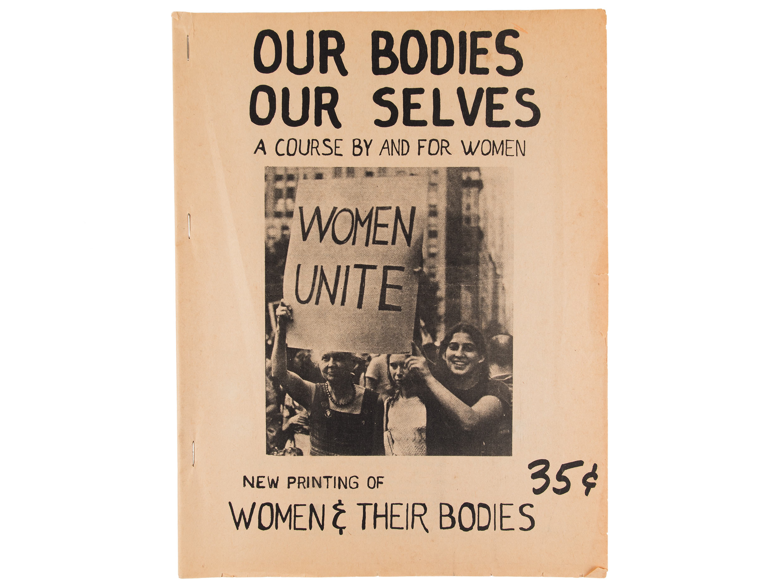 First edition of Our Bodies Our Selves, 1971, and meeting minutes, 1973