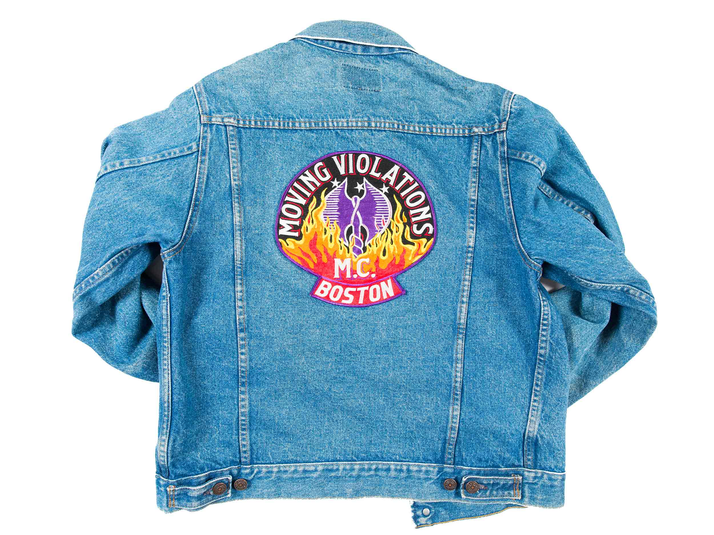 Moving Violations Motorcycle Club embroidered denim jacket, ca. 1985