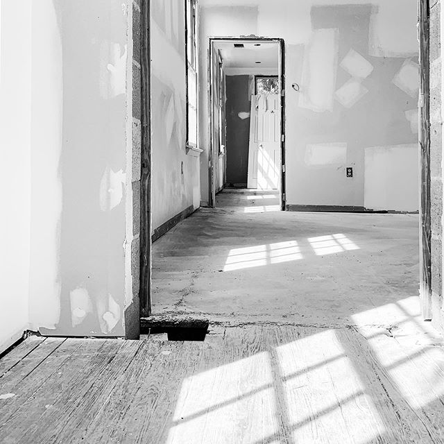 Our excitement over discovering the original heart pine floors under the vinyl tile quickly disappeared as we realized none of it was salvageable due to a previous fire. #original #heart #pine #floor #old #fire #new #look #project